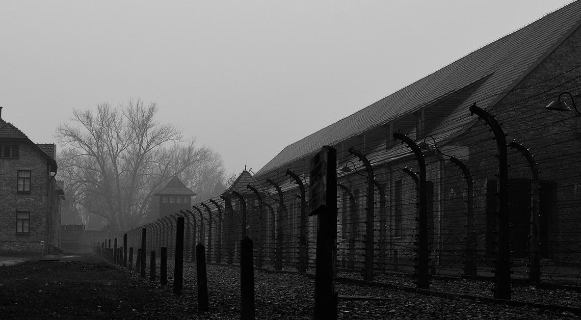 Fotografía en blanco y negro de un campo de concentración en Alemania, al frente una reja y al fondo un edificio, junto a él hay árboles.