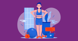 Dibujo de cuerpo completo de una mujer parada con las manos en la cintura, junto a ella una pelota, una pesa y una maceta.