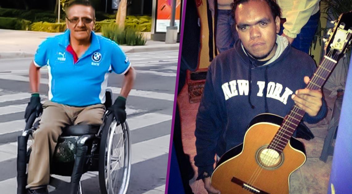 Fotografía de un hombre que utiliza silla de ruedas, viste una playera azul y un pantalón café, detrás de él hay un parque con un árbol y una parada de autobús. La segunda fotografía es de un hombre con una guitarra; viste una sudadera azul.