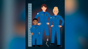 Ilustración en vectores de tres astronautas, dos mujeres y una persona de talla pequeña.