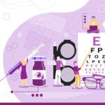 Imagen que muestra gráficamente a cinco doctores sobre objetos oculares (lentes, oftalmoscopio, platillas de letra, etcétera)