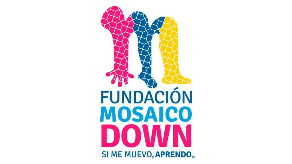 Logotipo de la Fundación Mosaico Down, en el cual se muestra una persona en forma de arco que con sus brazos y pies forma la letra M.