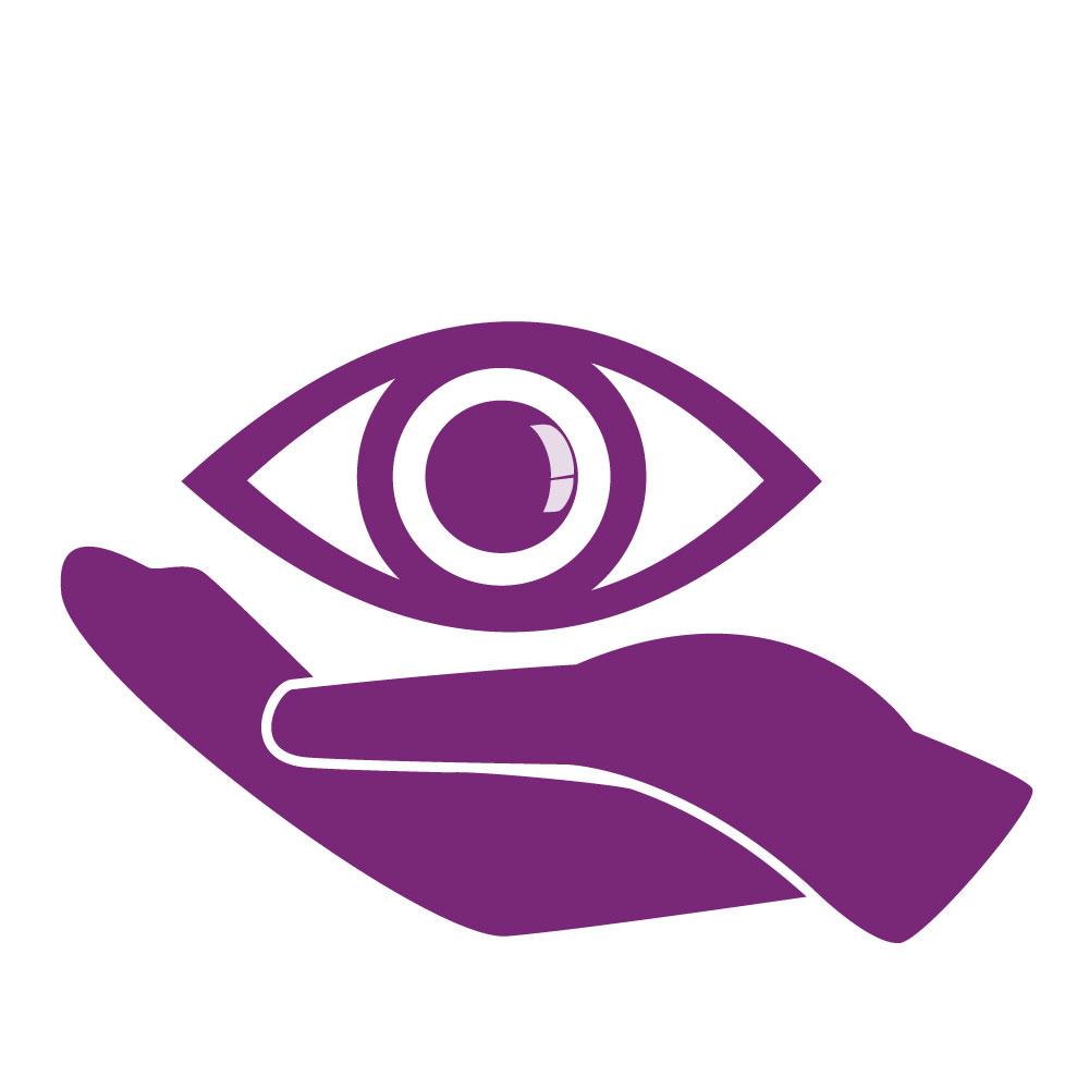 Vector de una mano sosteniendo un ojo, ambos representados en color morado.