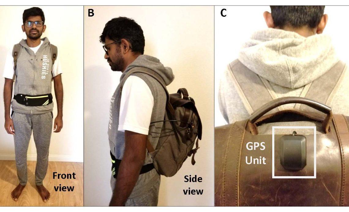 Joven mostrando de frente, de perfil y por detrás la mochila inteligente de Intel para personas con discapacidad visual