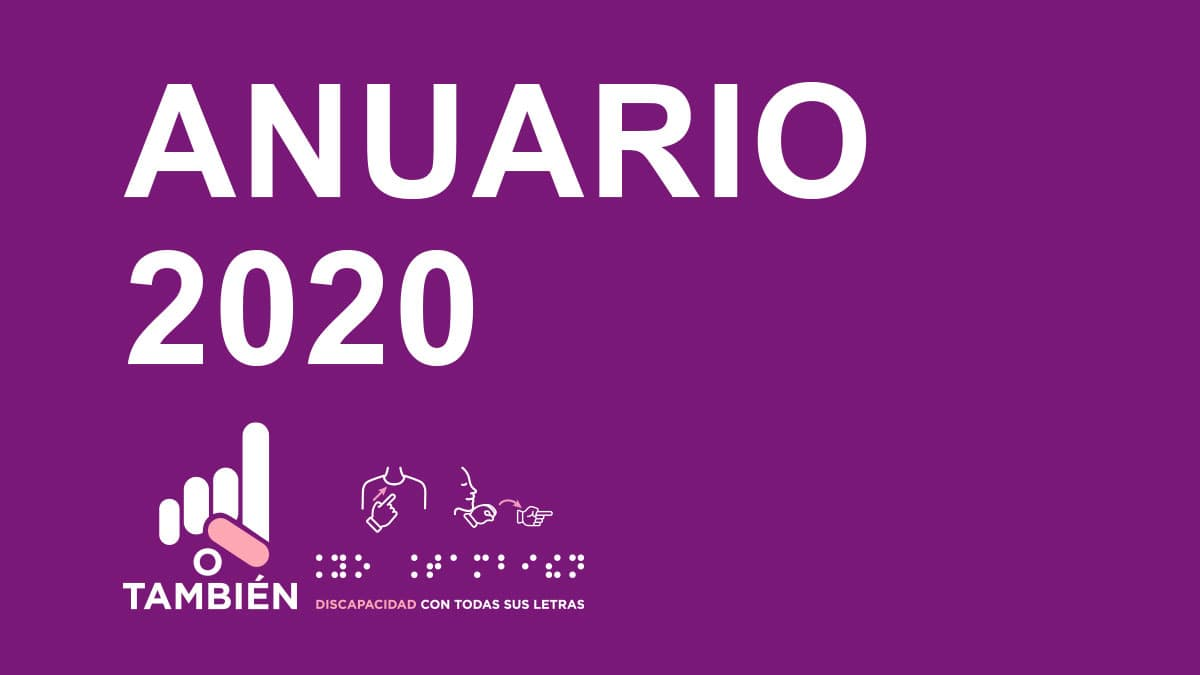 Texto en la imagen de color blanco sobre fondo morado: Anuario 2020.