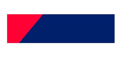Logotipo de Cemex con dos franjas una roja y una azul. Texto en imagen: Cemex