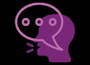 Representación gráfica de un rostro de perfil, color morado, con un globo de texto color lila sobre ella, dentro del globo se pueden apreciar tres puntos suspensivos.