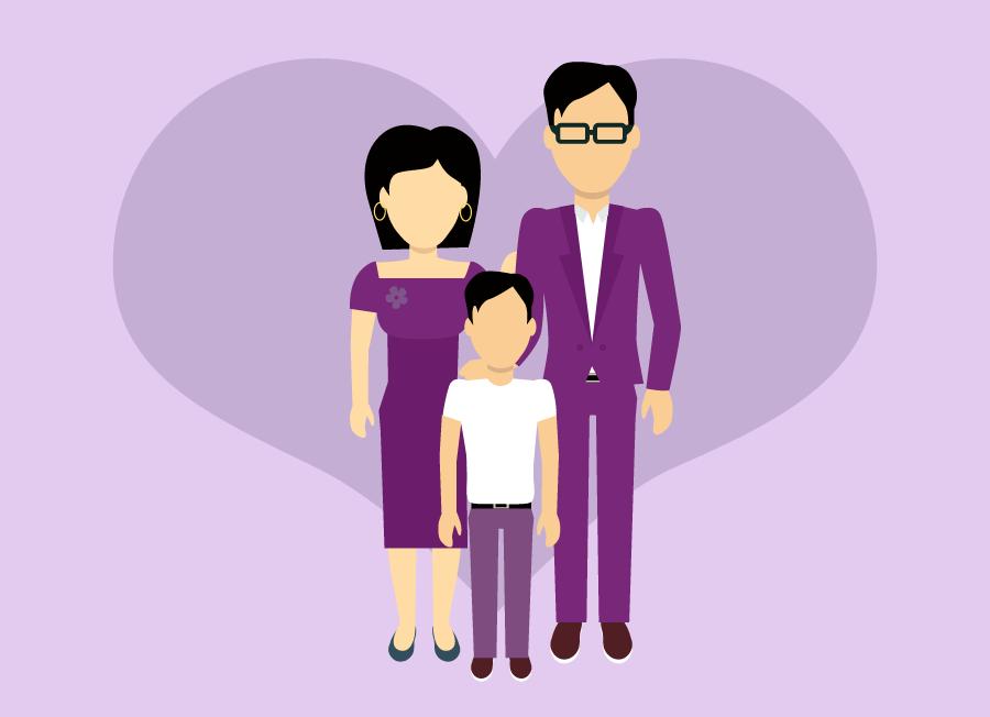 Representación gráfica de una familia nuclear: hombre, mujer y un niño, todos vestidos de color morado, al fondo se ve un corazón.
