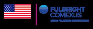 Imagen con bandera de Estados Unidos y texto en azul Fulbright Comexus