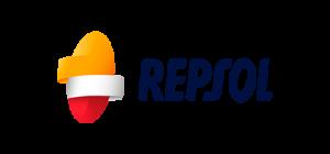 Logotipo de Repsol con un círculo de color amarillo y rojo con franjas blancas seguido de texto Repsol