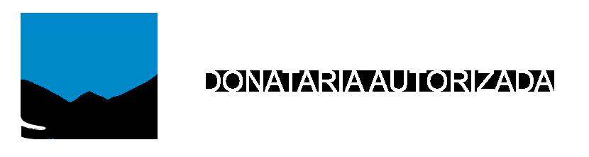 Logotipo de SAT y a la derecha texto Donataria Autorizada en blanco