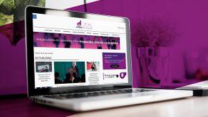 """Fotografía de muestra el sitio web de Yo También, un portal de noticias que cinco entradas en forma de collage, un sobre con el mensaje de """"Suscríbete al NewsLetter"""" y la Guía de cuidados ante COVID 19-"""
