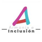 Imagen con el logotipo de la asociación Armonía e Inclusión compuesto de una letra A ligeramente inclinada a la izquierda, de diferentes colores: azul, rosa y rojo. Texto en la imagen: Armonía e inclusión.