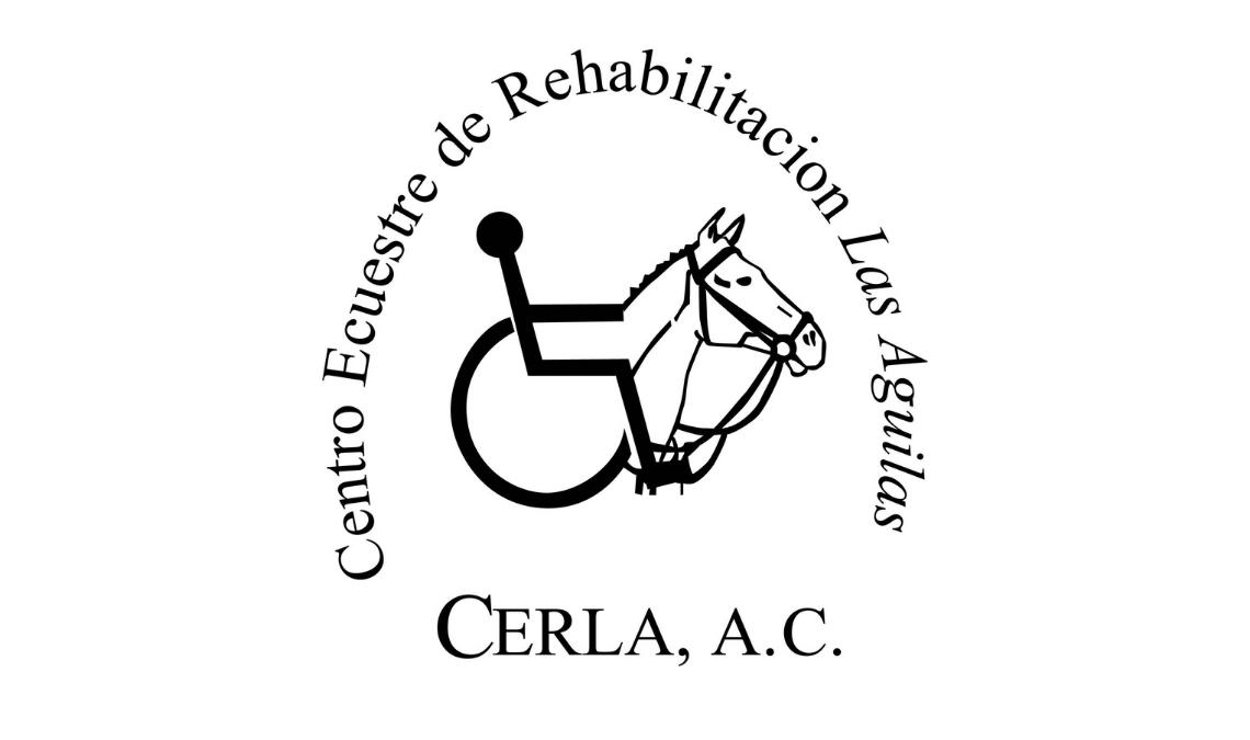 Imagen del logotipo de CERLA, Centro Ecuestre de Rehabilitación Las Aguilas, una representación en líneas de una persona en silla de ruedas montando a caballo. Texto en la imagen: Centro Ecuestre de Rehabilitación Las Águila, CERLA A.C.