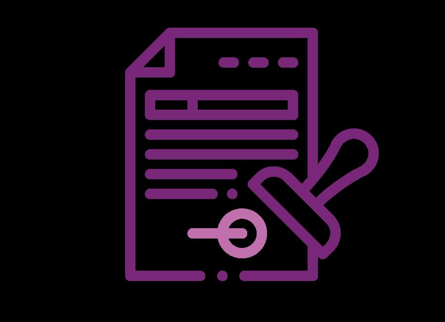 Representación gráfica en líneas de una hoja de papel con un sello a un lado de color morado.
