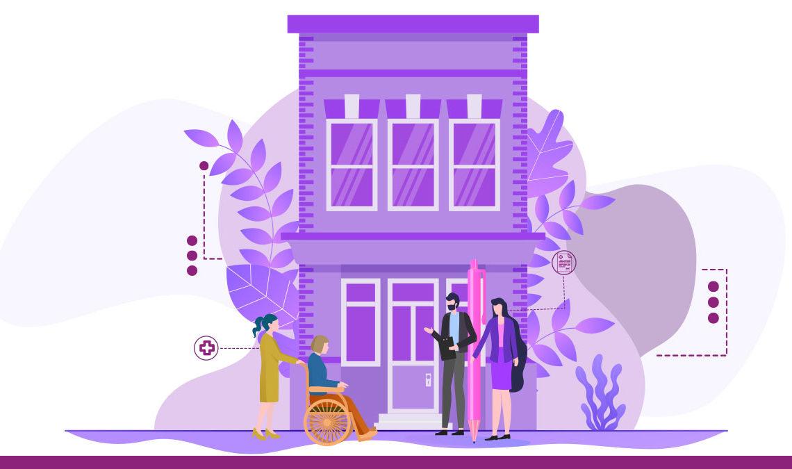 Representación en líneas de un edificio de color morado, al frente aparecen cuatro personas, dos empresarios y una mujer en silla de ruedas con su asistente.
