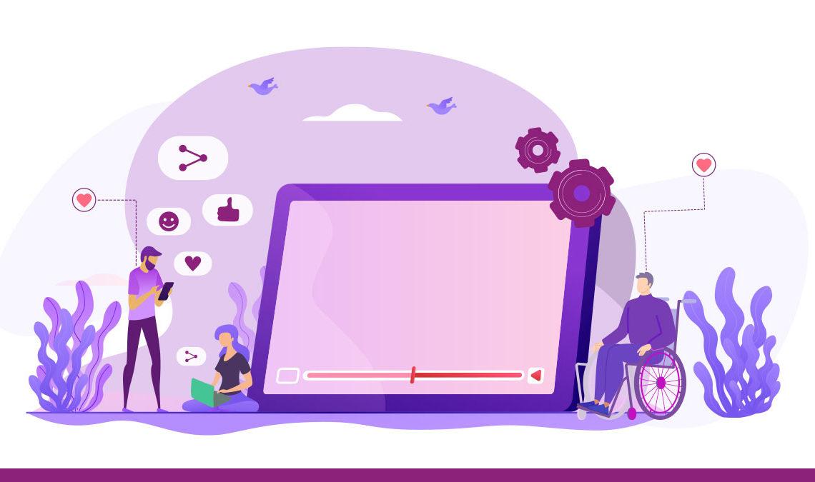 Representación con líneas de la pantalla de una tableta en color morado a gran escala, más pequeñas aparecen dos personas a su costado, una de ella se encuentra en una silla de ruedas, y otra persona de pie que aparece agachado viendo su teléfono móvil, toda la imagen está dibujada de diversas tonalidades de morado.