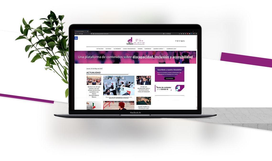 Fotografía de una computadora MacBook Air sobre un fondo blanco que tiene una captura de pantalla del sitio web de Yo También, www.yotambien.mx en donde aparecen las noticias más recientes del medio.