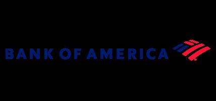 Texto en azul Bank of America junto con logo de rayas color rojo y azul simulando bandera de Estados Unidos