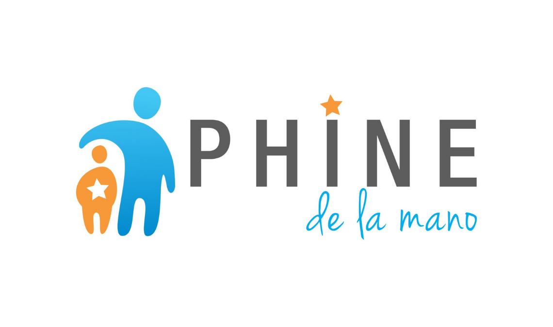 Logotipo de la asociación PHINE, dos representaciones gráficas de personas, una de color azul más alta que la otra que simula ser un niño pequeño de color amarillo, la persona mayor lo abraza. Texto en la imagen: PHINE.