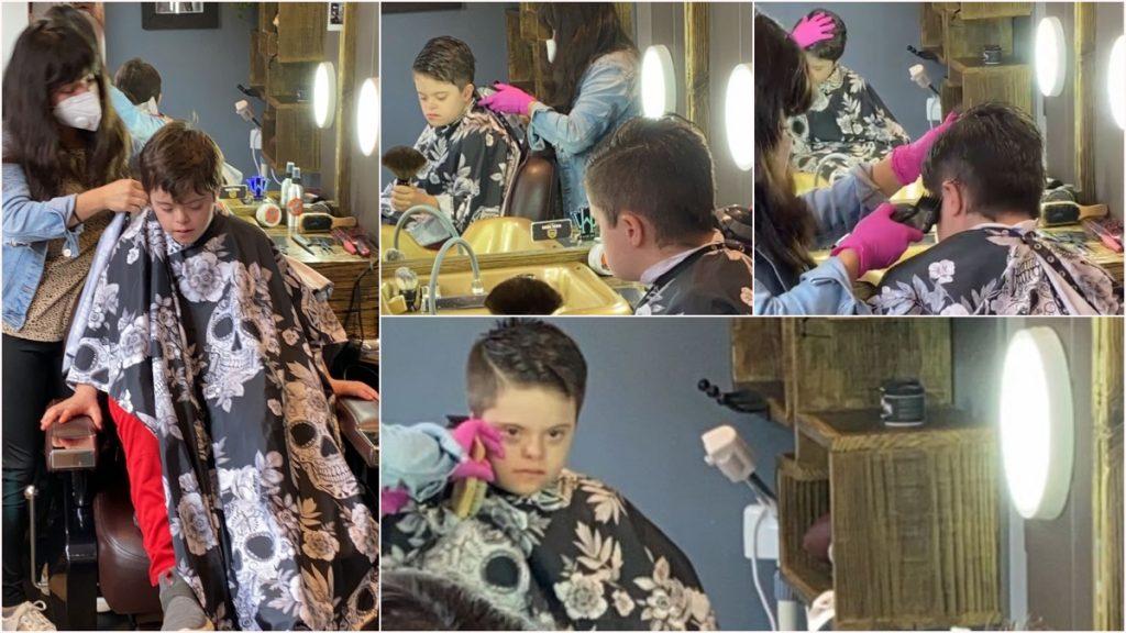 Cuatro fotografías del proceso de corte de pelo de Nicolás, un niño de 10 años que tiene síndrome de Down. Él está en el sillón de peluquero, con una capa en tonos de negro, gris oscuro y blanco con estampado de calaveras; la estilista que le corta el cabello usa un cubrebocas blanco y guantes color rosa mexicano. El niño está rodeado de espejos, así que su rostro se multiplica y en todos es posible verlo  con un semblante tranquilo, mientras le pasan la tijera o la máquina de corte. En las paredes de la estética hay luces que mejoran la iluminación y cestos de mimbre, donde se ven algunas de las herramientas para el cuidado de cabello.