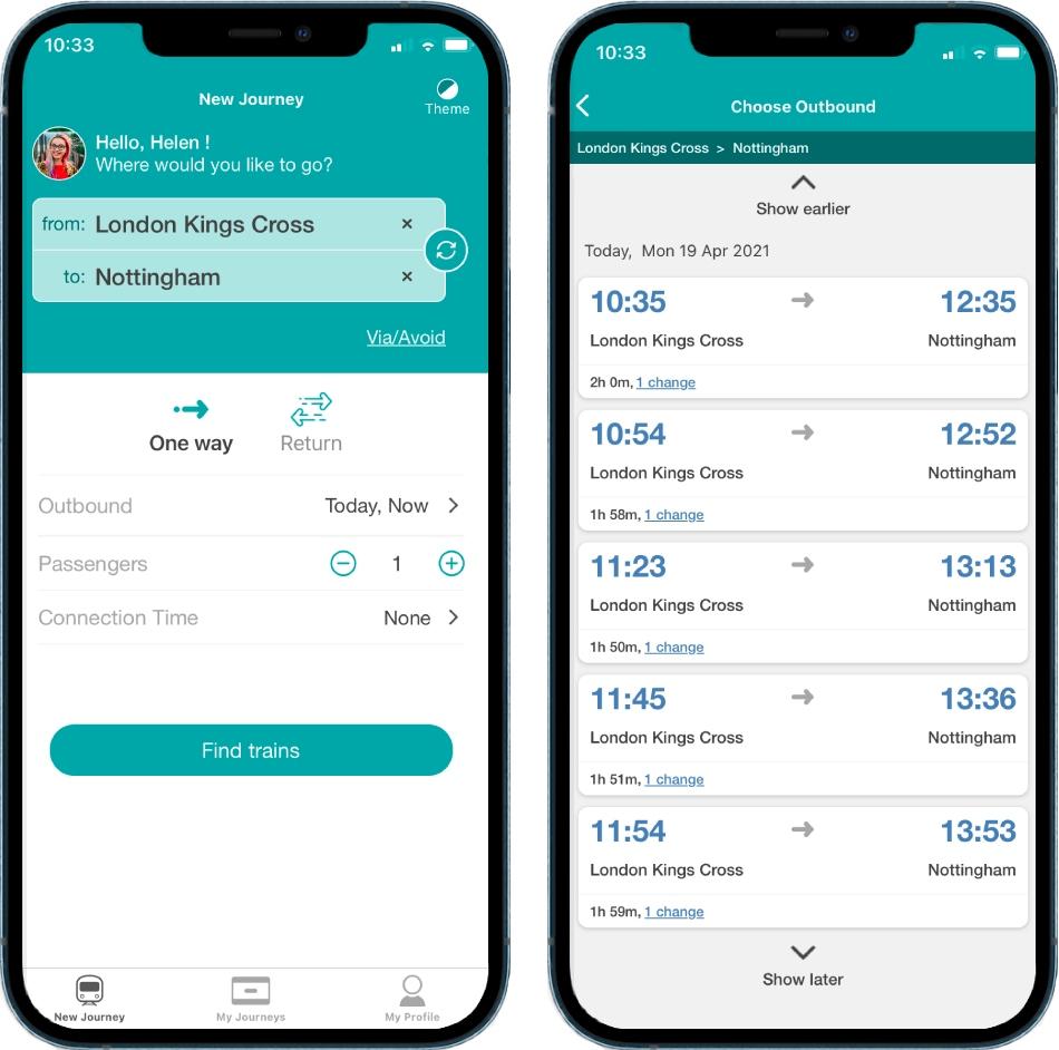 Un par de fotografías en las que se muestra cómo se ve la app Passenger Assistance para reservar accesos o apoyos en el sistema ferroviario británico en la pantalla de un teléfono celular. Del lado izquierdo se muestran los datos de la aplicación y del derechos los horarios de llegada y salidas de los trenes, así como su ruta.