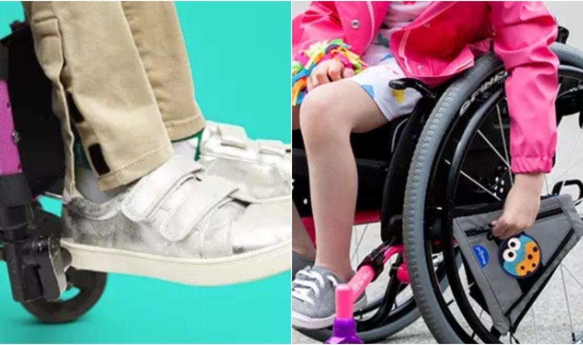 Dos fotografías que muestran detalles de moda para niño y niña en el regreso clases. Los modelos son usuarios de sillas de ruedas. En la primera imagen se ve parte de las piernas y pies. Usa pantalones que se ajustan al tobillo de manera interna, gracias al velcro que los sujeta y que facilitan ponérselos. Los pantalones son color beige y los tenis, también con correas con velcro, son blancos. El el caso de la niña, se ven prendas coloridas, alegres, en tonos de rosa y fresa.