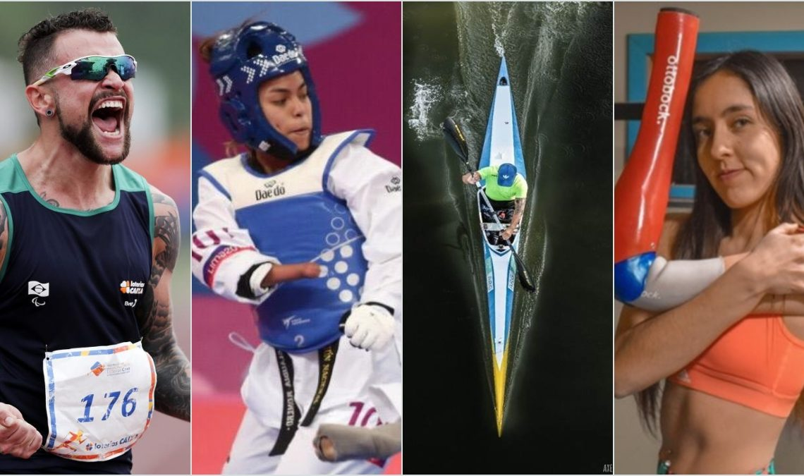 Imagen que muestra las fotografías de cuatro deportistas paralímpicos. El primero, un corredor, que grita; la segunda, una taekwondoin con traje blanco y peto y casco azul; un kayak visto desde lo alto; y una paratleta que muestra la prótesis de su brazo levantándola.