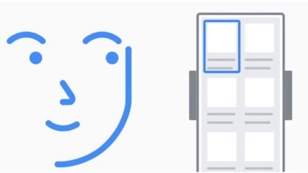 Boceto que muestra un rostro y un rectángulo que semeja un celular, donde está marcado un rectángulo en azul que será el lector de gestos faciales.
