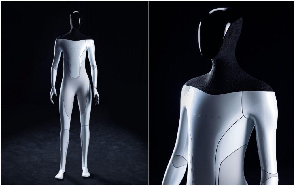Dos imágenes del prototipo de un robot humanoide diseñado por Telsa. En la de la izquierda la figura completa y espigada de 1.70 metros. De los hombros hacia abajo es gris plateado y de los hombros hacia arriba negro  La segunda imagen es un acercamiento que permite apreciar que los hombros y la parte posterior de la cabeza parecieran estar revestidos de una mala muy fina, tipo la que usan los esgrimistas, mientras que el rostro es una careta negra, brillante.